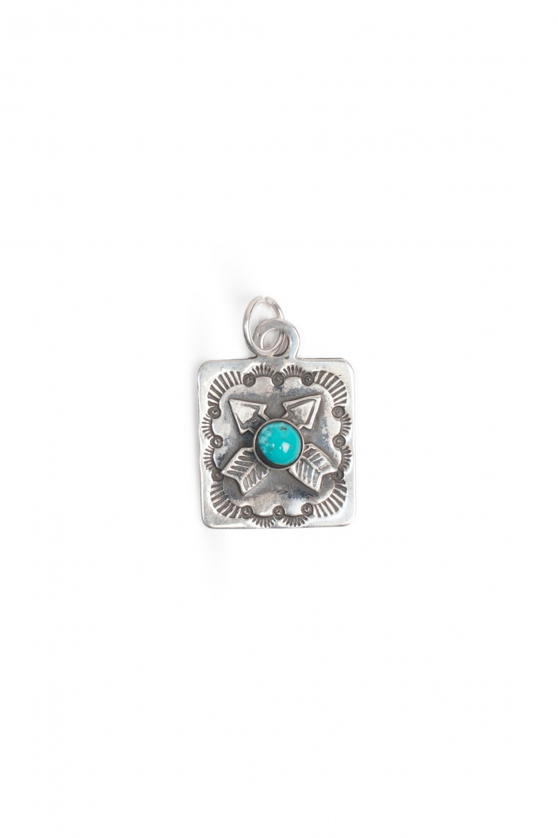 DOG TAG CROSSED ARROW | SILVER TURQUOISE
