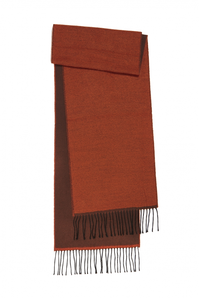 DOUBLE SIDED SCARF | ORANGE/BROWN
