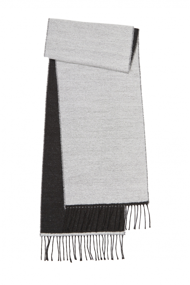DOUBLE SIDED SCARF   WHITE/BLACK