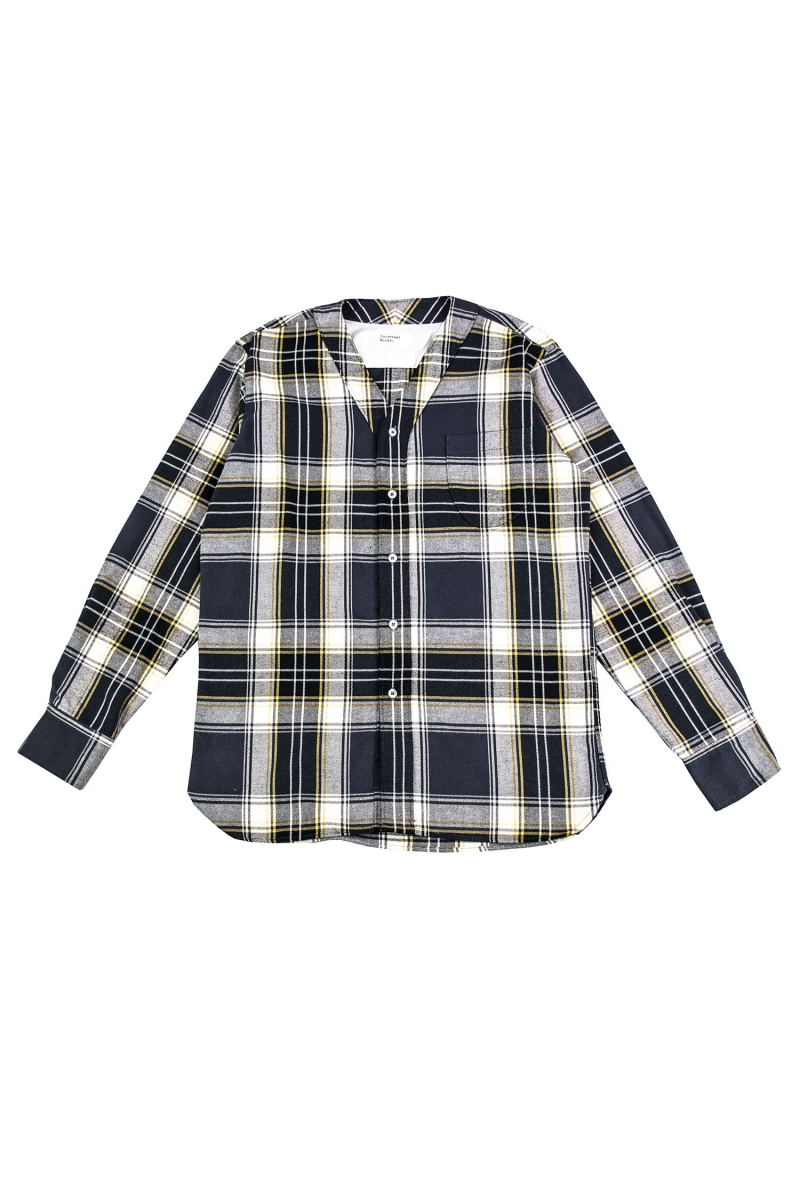 V NECK SHIRT | BLACK CHECK